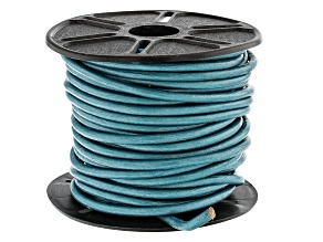 Round Leather Cord in Truly Teal Appx 3mm in Diameter Appx 10m in length