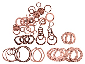Textured Focal Component Kit in 14 Styles in Copper Tone 52 Pieces Total