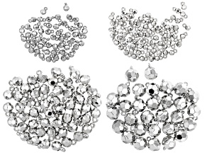 Faceted Dangle Bead Kit in Appxx 6mm, 8mm, 10mm, and 14mm in Silver Tone Appx 200 Pieces