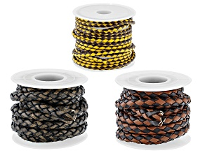 Textured Stitched Round Leather Cord Set of 3 in 3 Colors Appx 6.5' Each