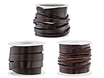 Picture of Flat Brown Leather Cord in 3 Sizes Appx 6.5' in Length Each Size