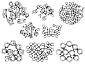Large Hole Spacer Bead Kit in 8 Styles in Antiqued Silver Tone and Silver Tone Appx 170 Pieces Total