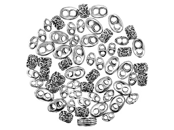 Picture of Large Hole Double Spacer Bead Kit in 3 Styles in Antiqued Silver Tone Appx 60 Pieces Total