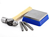 Alphabetic Stamping Kit Includes Uppercase Alphabet Stamps, Block, and Hammer in Travel Case