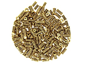 Floral Large Hole Tube Beads in 3 Sizes in Antiqued Gold Tone