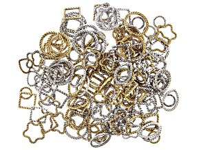 Diamond Cut Textured Links in 6 Styles in Antiqued Silver and Antiqued Gold Tones Appx 190 Pieces