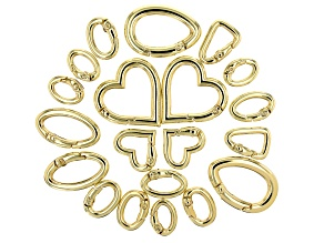 Fancy Spring Ring Clasp Set of 20 in Gold Tone in Assorted Shapes and Sizes