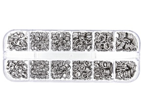 Iron Jump Ring and Lobster Style Clasp Kit in Silver Tone in 6 Styles Appx 636 Pieces Total