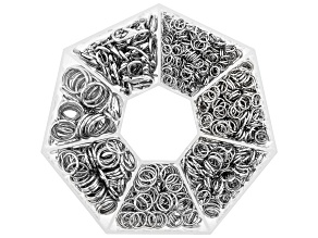 Iron Jump Ring and Clasp Kit in 7 Sizes in Silver Tone Appx 1210 Pieces Total