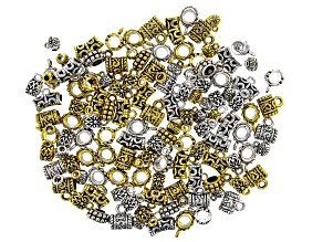 Indonesian Inspired Bail Kit in 5 Styles in Antiqued Silver and Gold Tones Appx 220 Pieces Total
