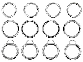 Large Spring Ring Clasp Kit in Silver Tone in 3 Styles 12 Pieces Total