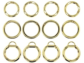 Large Spring Ring Clasp Kit in Gold Tone in 3 Styles 12 Pieces Total