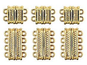 Multi Layer Magnetic Clasp Set in 2 Styles in Gold Tone 6 Pieces