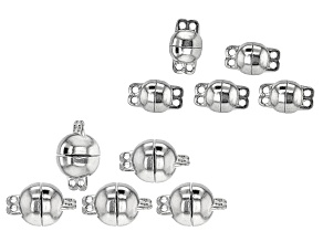 Round Multi Strand Magnetic Clasp Set in 2 Styles in Silver Tone 10 Pieces