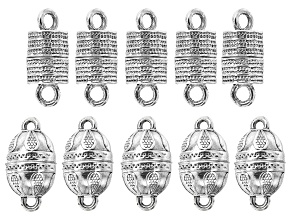 Indonesian Inspired Magnetic Clasp Set in 2 Styles in Antiqued Silver Tone Appx 10 Pieces