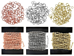 Iron Unfinished Cable Chain Kit in Silver, Gold, and Rose Tones with Findings Appx 12 Meters Total