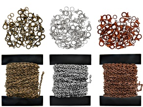 Iron Unfinished Cable Chain Kit in Antiqued Silver, Brass, and Copper Tones with Findings