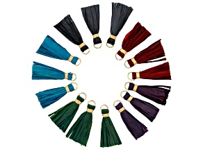 Akola Raffia Tassels appx 38x13mm in Assorted Holiday Colors in Gold Tone 15 Pieces Total