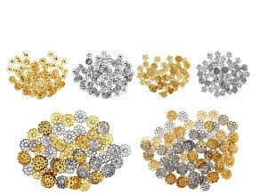 Designer Bead Cap Kit in 4 Designs in Silver and Gold Tone Appx 600 Pieces Total