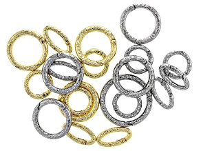 Indonesian Inspired Spring Ring Clasp Set of 20 in Silver Tone and Gold Tone