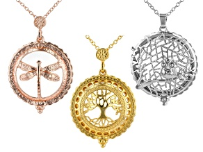 Magnifier Pendant Finding Set of 3 in 3 Designs in Silver, Gold, and Rose Tones