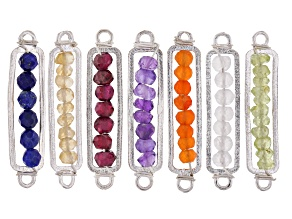Multi Gemstone Appx 3mm Beaded 2 Hole Connectors Set of 7 in Silver Tone Appx 27mm in length
