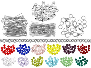 Birthstone Inspired Bead & Finding Kit Includes Beads and Silver Tone Supplies and Findings
