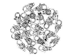 Flower Design Lobster Style Clasp Set of 24 in 3 Designs in Antiqued Silver Tone