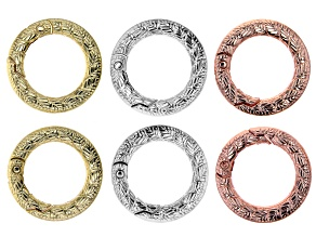 Leaf Design Large Spring Ring Clasp Set of 6 in Silver, Gold, and Rose Gold Tones