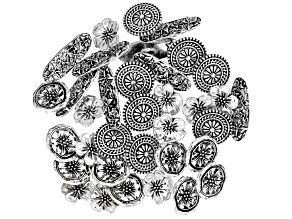 Floral Button Clasp Set of 35 in 4 Designs in Antiqued Silver Tone