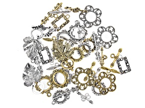 Toggle Clasp Set of 20 in 5 Designs in Antiqued Silver Tone and Antiqued Gold Tone