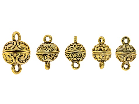 Indonesian Inspired Magnetic Clasp Set of 10 in 5 Designs in Antiqued Silver and Gold Tones