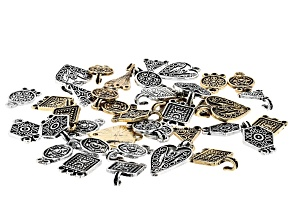 Indonesian Inspired Hook Clasp Set of 20 in 6 Designs in Antiqued Silver and Gold Tones