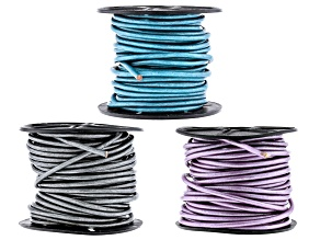 Round Leather Cord Set of 3 in Chandi, Truly Teal, and Metallic Gray Appx 3mm Diameter Appx 10m Each