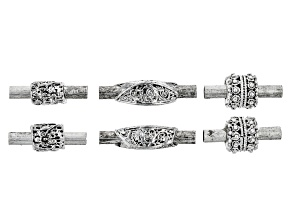 Indonesian Inspired Tube Magnetic Clasp Set of 6 in 3 Designs in Antiqued Silver Tone