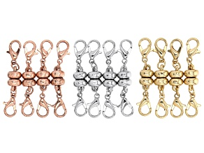 Magnetic Claps Set of 12 in Silver Tone, Gold Tone, and Antiqued Rose Gold Tone