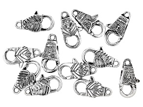 Fancy Lobster Style Clasp Set of 12 in 3 Designs in Antiqued Silver Tone
