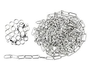 """Stainless Steel Elongated Designer Cable Chain Appx 100"""" and Findings Appx 19 Pieces Total"""