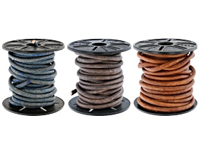 Round Leather Cord Appx 4mm Set of 3 in Natural Light Brown, Natural Blue, and Natural Gray Appx 15M