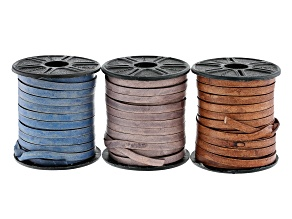 Flat Leather Lace Appx 3mm Set of 3 in Natural Light Brown, Natural Blue, and Natural Gray Appx 30M