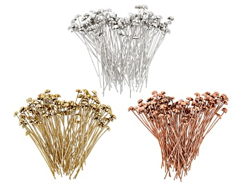 """Picture of Star Shaped Headpins appx 6mm and appx 2"""" in length in Silver, Gold & Rose Gold Tones 300 Pieces"""