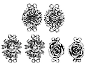 Flower Design 2-Strand Magnetic Clasp Kit in 3 Designs in Antiqued Silver Tone Appx 6 Pieces