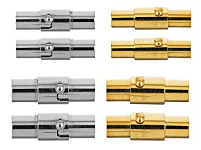 Stainless Steel Magnetic Clasp with Safety Twist Set of 8 in 2 Tones