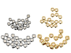 Sliding Clasp Silicone Beads in 2 Sizes in Silver Tone and Gold Tone Appx 70 Pieces Total