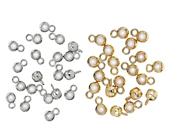 Picture of Sliding Silicone Faceted Beads with Jump Rings in Silver Tone and Gold Tone Appx 40 Pieces