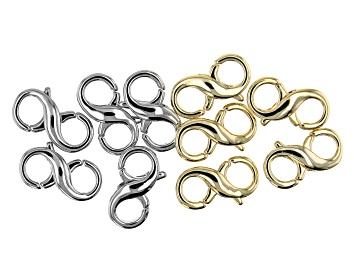 Picture of Double Infinity Sign Design Lobster Style Clasp Set of 10 in Silver Tone and Gold Tone