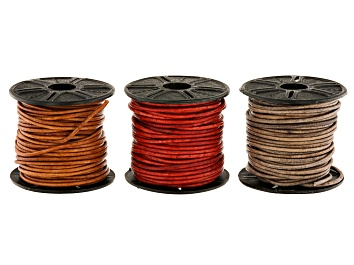 Picture of Leather Cord Set of 3 in Natural Light Brown, Natural Gray, and Natural Red Appx 1.5mm Appx 10M Each