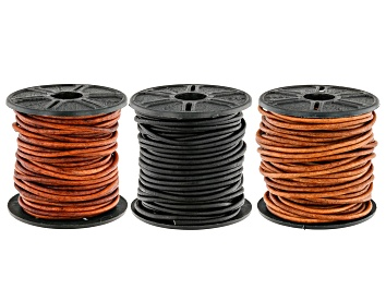 Picture of Leather Cord Set of 3 in Natural Red Brown, Natural Light Brown, Natural Black Appx 2mm Appx 30M
