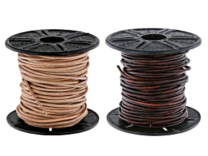 Round Leather Cord Set of 2 in Natural and Natural Antiqued Brown Appx 1mm Appx 10M Each