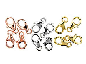 18K Gold Over, 18K Rose Gold, and Rhodium Over Sterling Silver Lobster Style Clasps Set of 12